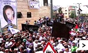 ISIS-Flaggenwehen bei der Beisetzung  des ermordeten arabischwen Teenager  Mohammad Abu Khdair - Photo: Screenshot