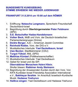 Frankfurt 31.8.2014 %22Stimme erheben - Nie wieder Judenhass%22 - Programm