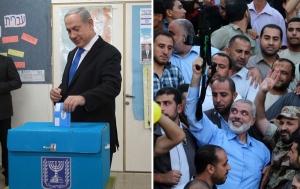 Israels Ministerpräsident Benjamin Netanjahu (links) und Hamas-Führer Ismail Haniyeh (rechts, im blauen Hemd).