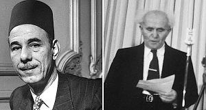 """Als er im Oktober 1947 vom UNO-Teilungsplan sprach, sagte Abdul Rahman Azzam (links), der Generalsekretär der Arabischen Liga, die Gründung eines jüdischen Staates würde """"zu einem Vernichtungskrieg und bedeutenden Massaker führen, von dem gesprochen werden wird wie vom Mongolenmassaker und den Kreuzzügen"""". Israels Premierminister David Ben-Gurion sagte, als er Israels Unabhängigkeitserklärung vorlas, am 14. Mai 1948: """"Wir wenden uns – selbst inmitten mörderischer Angriffe, denen wir seit Monaten ausgesetzt sind – an die in Israel lebenden Araber mit dem Aufrufe, den Frieden zu wahren und sich aufgrund voller bürgerlicher Gleichberechtigung und entsprechender Vertretung in allen provisorischen und permanenten Organen des Staates an seinem Aufbau zu beteiligen."""