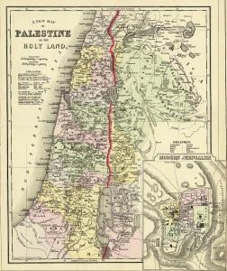 Eine in einem Atlas aus dem Jahr 1890 von John Y. Huber & Co. veröffentlichte Landkarte Palästinas