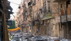 Ein Viertel im palästinensischen Flüchtlingslager Jarmuk in der Nähe von Damaskus nach den Zerstörungen der Gefechte. (Foto: Screenshot des Fernsehsenders RT)