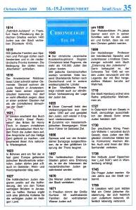 16. - 19. Jahrhundert Israel-Chronologie  Teil 10