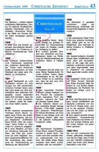 Christliche Zionisten Israel-Chronologie  Teil 12